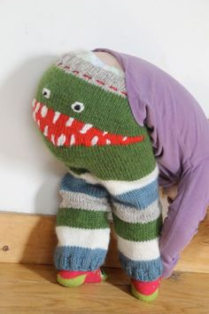 Hand Knit Monster Leggings for Baby
