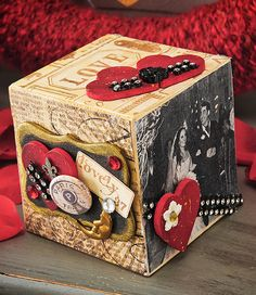Create a romantic mixed media photo block with Mod Podge photo transfer and embellishments.