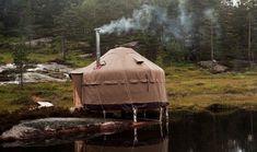 Yurt in the woods.