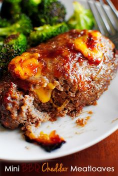 """""""Meatloaf, meatloaf, double beatloaf!"""" Try this Cheddar Meatloaf and hopefully you'll like it better than Randy! cheddar meatloaf, cheddar meatloav, mini bbq, beef, food, minis, yummi, recip, bbq cheddar"""