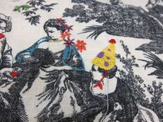 toile fabric embroidery