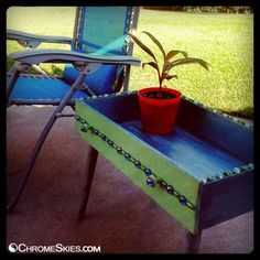 Re-purposed Dresser Drawer into Patio Table