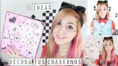 decora tus CARPETAS ✩ ¡tres ideas fáciles y originales! - DIY cuadernos,...