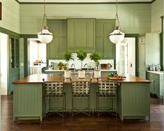 kitchens, houses, cabinet colors, green, islands, paint colors, southern live, wood countertops, kitchen cabinets