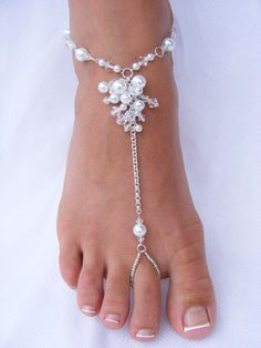 Barefoot Sandals - JESSICA Medium. Silver Chain, Clear Crystals & White Pearls for Beach Wedding, Pool Party, Belly Dancing or Cruise Wear.. $120.00, via Etsy.