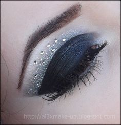 Black cut crease with rhinestones