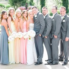 Multi color bridesmaid dresses and gray groomsmen suits // Clane Gessel Photography // http://www.theknot.com/weddings/album/140134