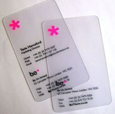 (m7) Business Card- I love the fact that these business cards are transparent. It gives the cards a very sleek, modern look. The pink symbol at the top gives a nice contrast to the black text at the bottom.