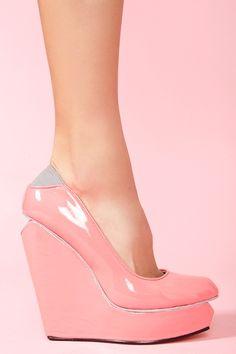 Agnes Platform Wedge in Neon Pink
