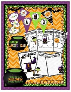 Halloween ideas for the classroom, creative writing prompts, grammar and bulletin board decorations