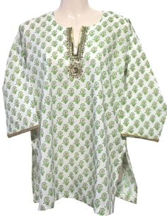 Womens India Printed Cotton Kurti Top (Tunic) Indian Clothes (White, L) « Clothing Impulse