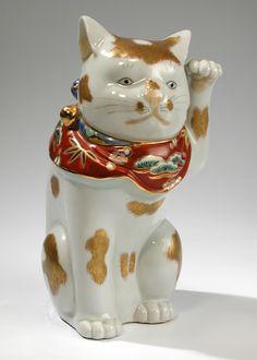 "Maneki Neko - Kutani - Painted Porcelain. Circa Mid 20th Century. 7-1/2""."