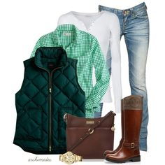 gingham shirt, quilted vest and riding boots = perfection