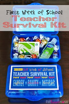 Back to School ~ First Day Teacher Gift: First Week of School Teacher Survival Kit ~ FREE PRINTABLE {Energy (caffeine) + Sanity (chocolate) + Antibacterial Hand Gel} | FiveHeartHome.com