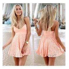 Super sweet peach mini dress featuring a flare skirt with lace overlay and a strapless sweetheart bust