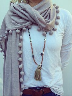 pom poms, pink dress accessories, winter fashion, long necklaces, fall styles