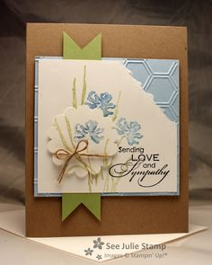 Love the layout of this card! Nice soft colors too. watercolor techniqu, card idea, stamp sets, sympathy cards, juli stamp, scallop, juli wadling, sympathi card, flower