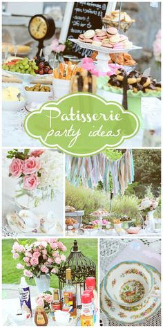 A French Patisserie baby shower with a beautiful banner and white twinkle lights!  See more party planning ideas at CatchMyParty.com!
