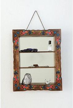 Hand Painted Mirrored Shelf