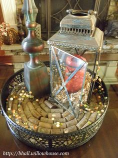 Make your own wine cork tray - here I used the Parisian Ottoman Tray from Willow House, removed the glass and created a circle of corks, replaced glass----perfecto! http://bhall.willowhouse.com