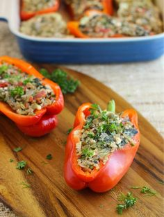 Mediterranean Quinoa Stuffed Peppers via Making Thyme for Health #healthy #protein