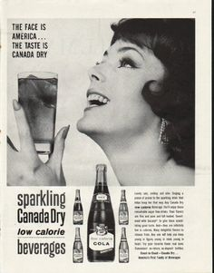"""1961 CANADA DRY vintage magazine advertisement """"The Face Is America"""" ~ The Face Is America ... The Taste Is Canada Dry -- sparkling Canada Dry low calorie beverages ~ Size: The dimensions of the full-page advertisement are approximately 10.5 inches x 13.5 inches (26.75 cm x 34.25 cm). Condition: This original vintage full-page advertisement is in Excellent Condition unless otherwise noted."""