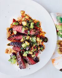 Grilled Skirt Steak with Fruit-and-Green-Tomato Salsa Recipe on Food & Wine