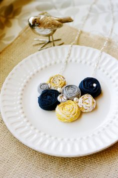 gray, yellow and blue anthropologie inspired rosette necklace!