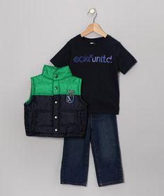 Navy Patched-Up Vest Set - Infant & Toddler