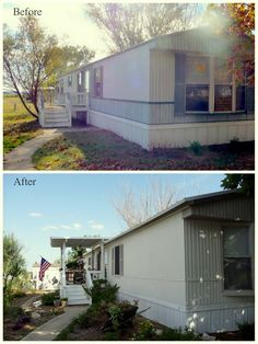 My Heart's Song: Mobile Home Exterior - Before/After paint-Valspar Satin Ext. Asiago-house,Oatlands Subtle Taupe Trim, Smoked Oyster shutters