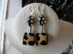 Leopard print glass spotted Czech glass and silver by ChalkScene, $12.00