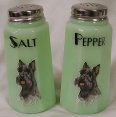 Jade Jadite Milk Gren eGlass Paneled Salt  Pepper Shaker Set Scottie Scotty Dog
