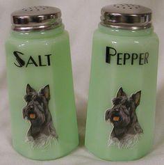 Jade Jadite Milk Gren eGlass Paneled Salt  Pepper Shaker Set Scottie Scotty Dog