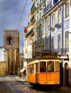 Lisbon - Tram going down close by the Cathedral #Portugal