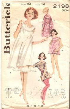 1950s Butterick sewing pattern for baby doll nighties