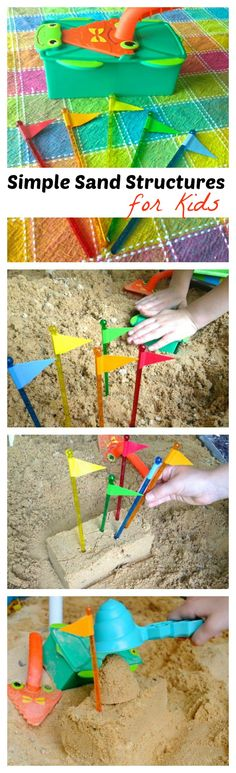 Simple sand structures with an adorable DIY flag craft
