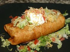 Chimichangas! One of my favorite recipes! Bake it instead of fry it/or lightly in coconut oil