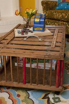 old chicken crate turned coffee table by the JuNK GYpSies for the DIEHL family. #chickencooptable #chickencrateDIY #HGTV #GAC {junk gypsies}
