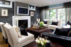 basement family room ideas | Basement Family Room Fireplace Designs | Jane Lockhart Interior Design