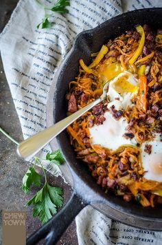 Healthier Chorizo and Sweet Potato Breakfast Hash | Chew Town Food Blog