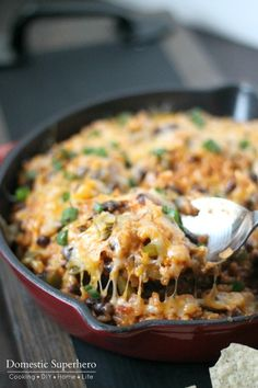 Cheesy Veggie Enchilada Skillet Rice