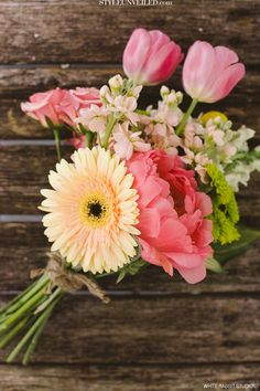 Coral, Yellow, and Green   Gerber Daisies and Tulips   Just makes me happy!