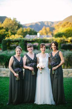 Maids in charcoal #amsale. Photography: Lisa Rigby Photography - lisarigbyphotography.com, Bridesmaid Dresses: Amsale - amsale.com  Read More: http://www.stylemepretty.com/california-weddings/2014/05/28/romantic-san-ysidro-ranch-wedding/