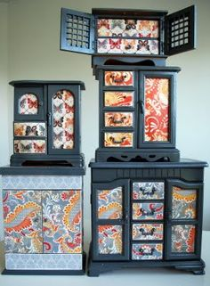 Fabulous fun with jewelry boxes (one of the items most often thrown out when people move)