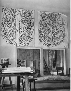 style court: Matisse studio work for tree-of-life stained glass window for the Chapelle du Rosaire. studios, white artwork, venc, chapell du, inspir, matiss studio, artist studio, henri matisse, du rosair