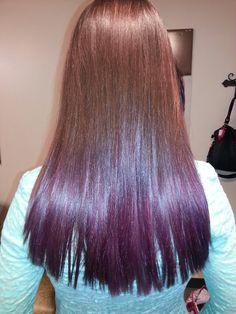 Red Hair Purple Underneath Like. dark brown hair dip dyed
