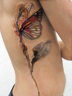 watercolor butterfly tattoo - by ondrash