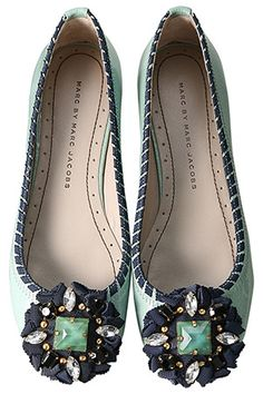 Marc Jacobs. Turquoise ballet flats. I NEED these!