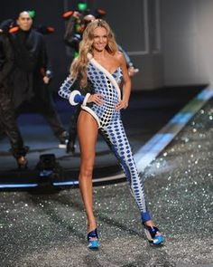 Blue and White Checked Asymmetric Catsuit worn For Victoria's Secret. Buy your Catsuit for dance from DCUK Dance Clothes.