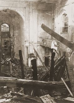 View of the old synagogue in Aachen after its destruction on Kristallnacht. November 10, 1938.